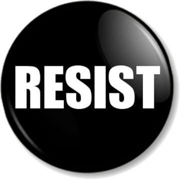 RESIST Pinback Button Badge Political Protest Women's Equal Rights Activist - Black